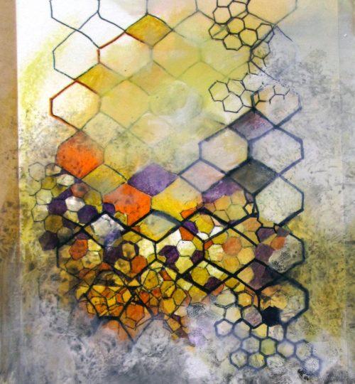 """Gittermonie"", Stempelfarbe, Kugelschreiber, Nagellack, Kaffee, Acrylfarbe auf Papier, 21,5 x 30 cm"