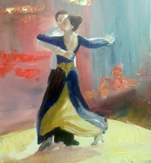 """Tanzpaar"", Öl auf Leinwand, 40 x 30 cm"