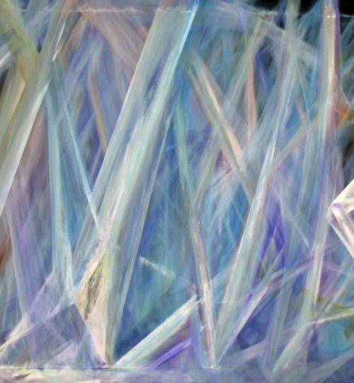 """""""Kristallines Licht III"""", Acryl/Pastellkreide auf Stoff, 100 x 130 cm"""