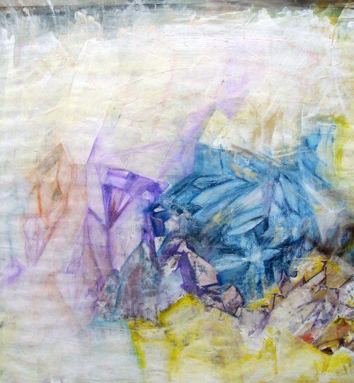"""""""Abstrakte Mineralgesteine"""", Acryl/Aquarellstift auf Papier, 45 x 54,4 cm"""