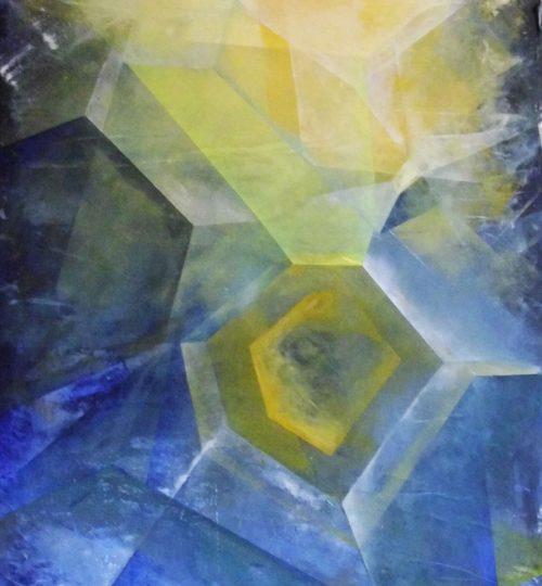 """""""Nachtkristalle"""", Acryl auf Papier, 148 x 68 cm"""
