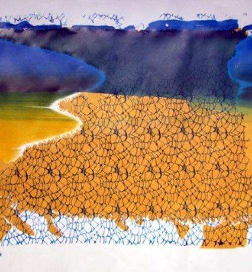 """""""Zwei Welten"""", Siebdruck auf Papier, 45 x 64 cm"""