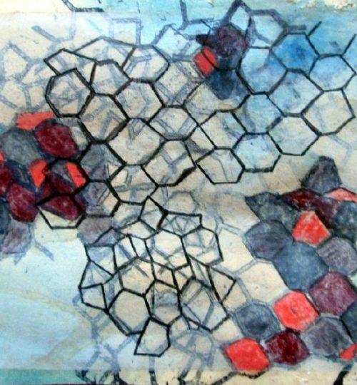 """""""Rasterhimmel"""", verschiedene Materialien auf Papier, 20,5 x 30 cm"""