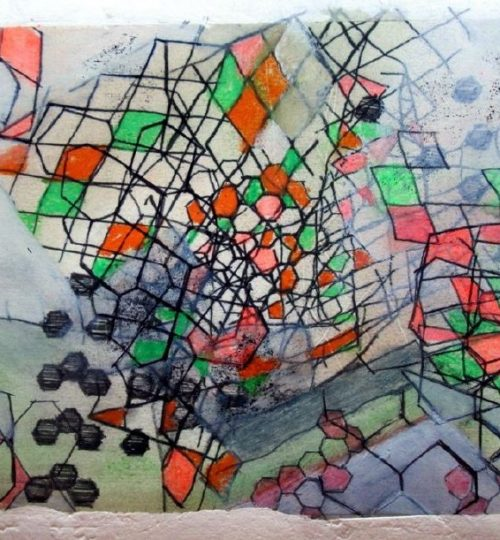 """""""Abflug"""", verschiedene Materialien auf Papier, 21 x 30 cm"""