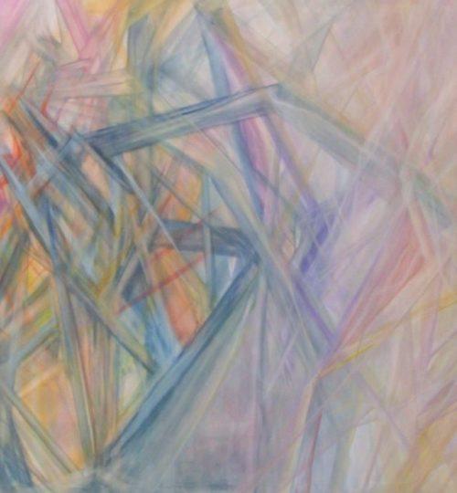 """""""Kristallines Licht I"""", Acryl/Pastellkreide/Aquarellstift auf Stoff, 120 x 180 cm"""