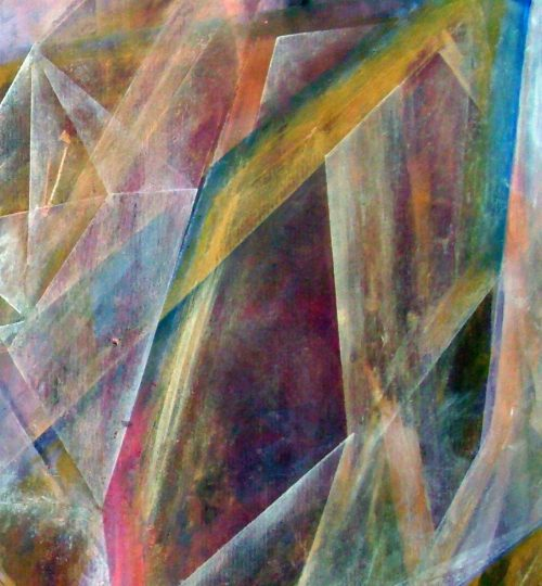 """""""Transparence"""", Acryl/Aquarellstift/Salz auf Papier, 56,5 x 58 cm"""