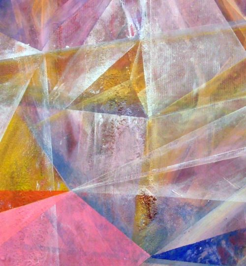 """Tranquility"", Acryl/Aquarellstift/Salz auf Papier, 56,5 x 88,5 cm"