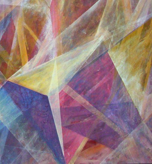 """""""Strength"""", Acryl/Aquarellstift/Salz auf Papier, 56,5 x 58 cm"""