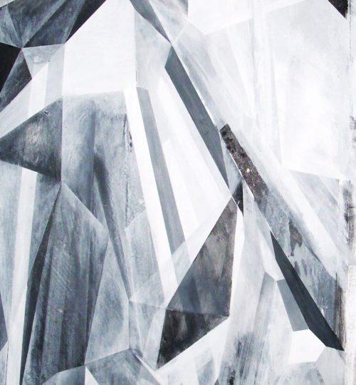 """""""Rising Composition"""", Acryl/Graphit auf Papier, 146 x 66 cm"""